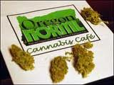 Flyer for the Oregon NORML Cannabis Cafe, with buds