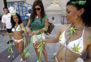 Dancers prepare at a pro-cannabis rally in California