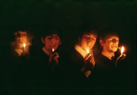 The Beatles lighting up a smoke